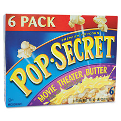 Diamond Microwave Popcorn, Movie Theater Butter, 3.2 oz Bags, 6/Box