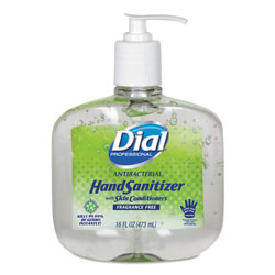 Dial Antibacterial Gel Hand Sanitizer w/Moisturizers, 16oz Pump, Fragrance-Free, 8/Ct