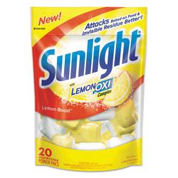 Sunlight Auto Dish Power Pacs, Lemon Scent, 1.5 oz Single Dose Pouches, 20/Pk, 6 Pks/Ct