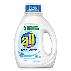 All Ultra Free Clear Liquid Detergent, Unscented, 36 oz Bottle, 6/Carton