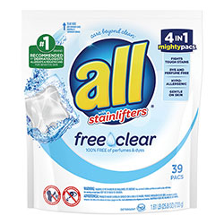 All Mighty Pacs Free and Clear Super Concentrated Laundry Detergent, 39/Pack, 6 Packs/Carton