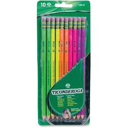 Dixon Ticonderoga Neon Pencil, #2, Five Neon Colors, 10/PK, Assorted