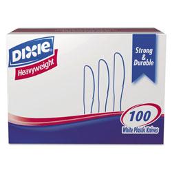 Dixie Plastic Cutlery, Heavyweight Knives, White, 1,000/Carton