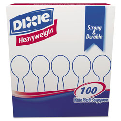 Dixie Plastic Cutlery, Heavyweight Soup Spoons, White, 1,000/Carton