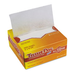 Dixie Tissue-Pac Lightweight Dry Waxed Interfolding Tissue, 6x10 3/4, White, 1000/Pack