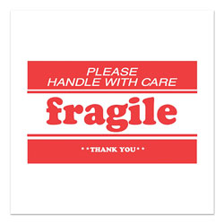 Decker Tape Products Pre-Printed Message Labels, Fragile-Please Handle with Care-Thank You, 2 x 3, White/Red, 500/Roll