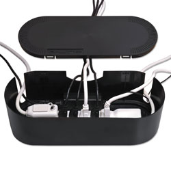 D-Line® Large Cable Tidy Units, 16.5 in x 6.5 in x 5.25 in, Black
