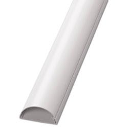 D-Line® Decorative Desk Cord Cover, 60 in x 2 in x 1 in Cover, White