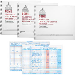 Dome Check/Deposit Registers, 50 Pages, 10-1/4 in x 8-1/2 in, 3/BD, Gray