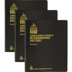 Dome Bookkeeping Record Books, Monthly, Undated, 9 in x 11 in, 3/BD, Beige