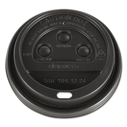 Dopaco® Dome Lids for Hot Paper Cups, For 12, 16, 20, 24oz Cups, Brown, Plastic