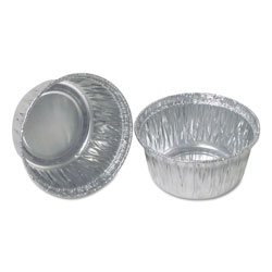 Durable Packaging Aluminum Round Containers, 3 in Dia., 4 oz Cup, 1000/Carton