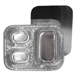 Durable Packaging 3-Compartment Oblong Aluminum Foil Container with Board Lid, 23 oz, 8.5 x 6.38 x 1.72, 250/Carton