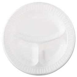 Dart Laminated Foam Dinnerware, Plate, 3-Comp, 10 1/4 in, White, 125/Pk, 4 Pks/Ctn