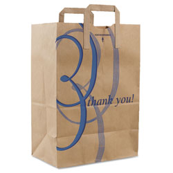 Duro Stock Thank You Handle Bags, 12 in x 17 in, Brown, 300/Carton