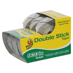 Duck® Permanent Double-Stick Tape with Dispenser, 1 in Core, 0.5 in x 25 ft, Clear, 3/Pack