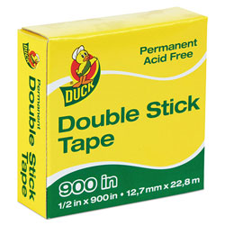 Duck® Permanent Double-Stick Tape, 1 in Core, 0.5 in x 75 ft, Clear