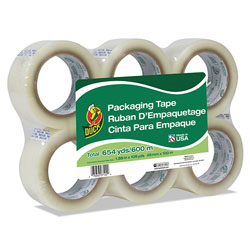 Duck® Commercial Grade Packaging Tape, 3 in Core, 1.88 in x 109 yds, Clear, 6/Pack