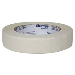 Shurtape Color Masking Tape, 3 in Core, 0.94 in x 60 yds, White