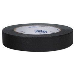 Shurtape Color Masking Tape, 3 in Core, 0.94 in x 60 yds, Black