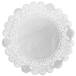 Duni 8 in Round French Lace Doilies, White