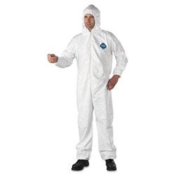 Dupont Tyvek Elastic-Cuff Hooded Coveralls, HD Polyethylene, White, X-Large, 25/Carton