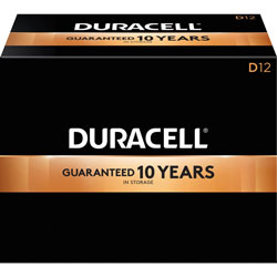 Duracell D Batteries, Coppertop, 12/BX, Black