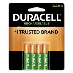 Duracell Rechargeable StayCharged NiMH Batteries, AAA, 4/Pack