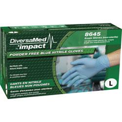 DiversaMed Exam Gloves, Nitrile, Powder-free, Large, 100/BX, Blue