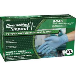 DiversaMed Exam Gloves, Nitrile, Powder-free, X-Large, 100/BX, Blue