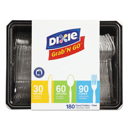 Dixie Combo Pack, Tray with Clear Plastic Utensils, 90 Forks, 30 Knives, 60 Spoons