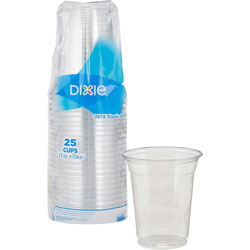 Dixie Clear Plastic PETE Cups, Cold, 12oz, 25/Sleeve, 20 Sleeves/Carton