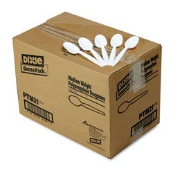 Dixie Plastic Cutlery, Mediumweight Teaspoons, White, 1,000/Carton