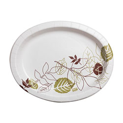 Dixie Pathways Heavyweight Oval Platters, 8 1/2 x 11, Green/Burgundy, 500/Carton