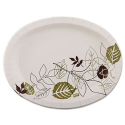 Dixie Pathways Heavyweight Oval Platters, 8 1/2 x 11, Green/Burgundy, 125/Pack