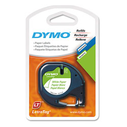 Dymo LetraTag Paper Label Tape Cassettes, 0.5 in x 13 ft, White, 2/Pack