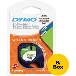 Dymo Label Maker Tapes for Letra Tag, 1/2 in x 13', 6/BX