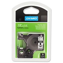 Dymo D1 Flexible Nylon Label Maker Tape, 0.5 in x 11.5 ft, Black on White