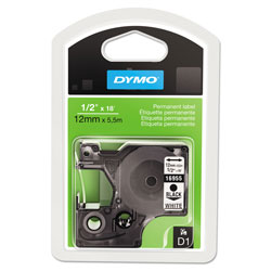 Dymo D1 High-Performance Polyester Permanent Label Tape, 0.5 in x 18 ft, Black on White