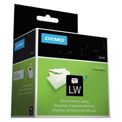 Dymo LabelWriter Address Labels, 1.12 in x 3.5 in, White, 350 Labels/Roll, 2 Rolls/Pack