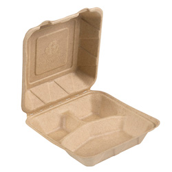 Bridge-Gate 3 Compartment Hinged Food Container, 9 in, Natural