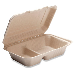 Bridge-Gate 2 Compartment Hoagie Hinged Food Container, Natural