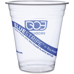 Eco-Products Cold Cup, Blue Stripe, 12oz., Rcyl'd PET, 10PK/CT, Clear