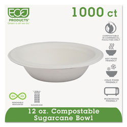 Eco-Products Renewable & Compostable Sugarcane Bowls - 12oz., 50/PK, 20 PK/CT