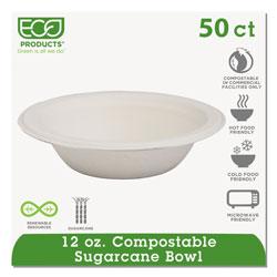 Eco-Products Renewable & Compostable Sugarcane Bowls - 12oz., 50/PK