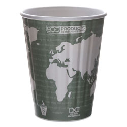 Eco-Products World Art Renewable and Compostable Insulated Hot Cups, PLA, 12 oz, 40/Packs, 15 Packs/Carton