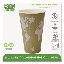 Eco-Products World Art Renewable and Compostable Insulated Hot Cups, PLA, 16 oz, 40/Packs, 15 Packs/Carton