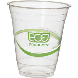 Eco-Products Cold Cup, Eco Friendly, 12oz, 2000/PL, Clear/GreenStripe