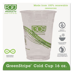 Eco-Products GreenStripe Renewable & Compostable Cold Cups - 16oz., 50/PK, 20 PK/CT