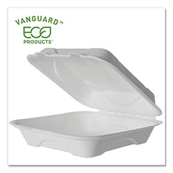 Eco-Products Vanguard Renewable and Compostable Sugarcane Clamshells, 1-Compartment, 9 x 9 x 3, White, 200/Carton